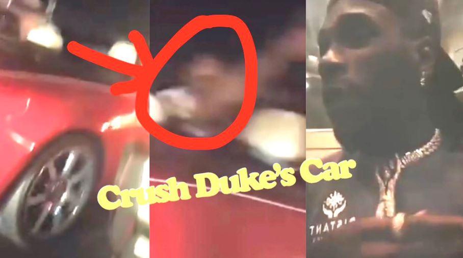 Dukes car smashed by Burna