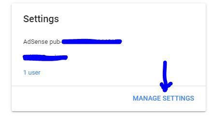 Manage Adsense settings